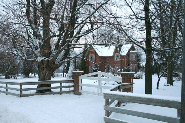 Brick house in winter